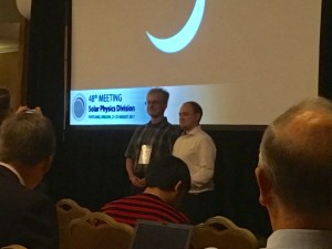 Paul Wright (right) receiving the 2017 AAS Solar Physics Division Student Poster Prize at the 48th AAS/SPD meeting in Portland, OR.