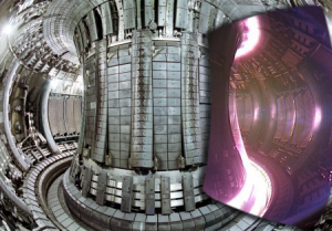 Composite image showing an interior view of the JET vacuum vessel, with a superimposed image of an actual JET plasma taken with a visible light camera. Only the cold edges of the plasma can be seen, since the centre is so hot that it radiates only in the ultra-violet part of the spectrum.© EFDA-JET