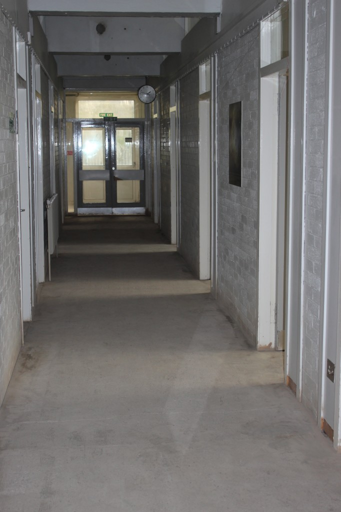 Main corridor flooring removed